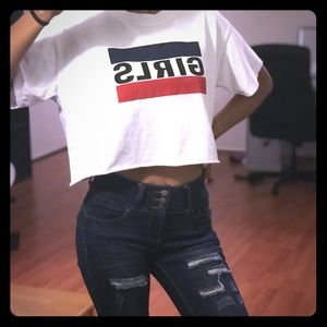 "Exclusive Levi, ""GIRLS"" crop top tee"